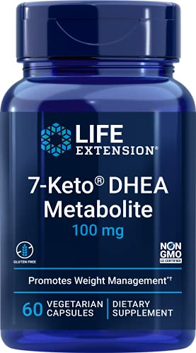 Life Extension 7-Keto DHEA Metabolite 100mg Vegetarian Capsules Has Been Studied to Help Promote Healthy Body Weight When Coupled with Proper Diet & Exercise, Non-GMO, Gluten Free, 60 Count