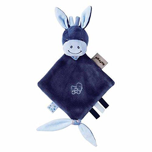 Nattou Pupazzetto fazzoletto mini Alex L'Asinello, Con portaciuccio, 30 x 20 x 5 cm, Alex e Bibou, Blu, 321136