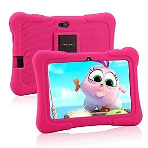 Pritom Tablet para niños de 7 Pulgadas   Quad Core Android, 1GB RAM + 16GB ROM   WiFi,   Educación, Juegos, Control Parental, Software para niños preinstalado con Funda para Tableta para niños (Rosa)