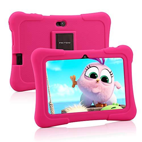 Pritom 7 Zoll Kindertablet, Quad Core Android, 1 GB RAM + 16 GB ROM, WiFi, Bluetooth, Dual Camera, Schulung, Spiele, Kindersicherung, Kindersoftware vorinstalliert mit Kindertablet-Hülle (Pink)