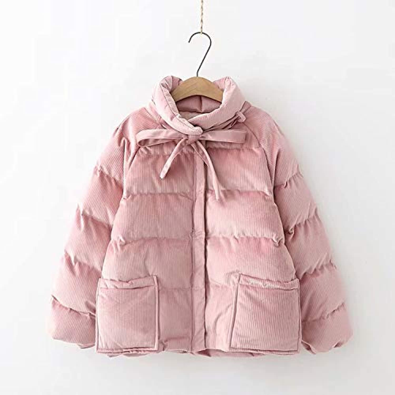 NewCime Women's Winter Warm Long Sleeve Corduroy Short Cotton Jacket Coat Overcoat