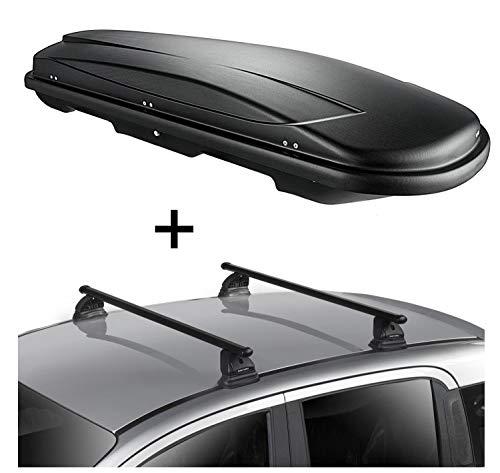 Dachbox VDPJUXT500 500 Liter abschließbar schwarz + Dachträger VDP EVO Stahl kompatibel mit Mercedes CLA Shooting Brake (X117) 5 Türer 2015-2019