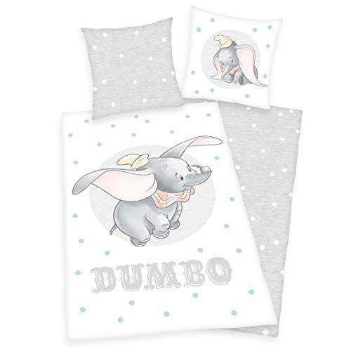 Arle-Living Disney Dumbo - der Fliegende Elefant Bettwäsche - 135x200 + 80x80 cm mit Wendemotiv - 100% Baumwolle Renforcé (Dumbo-Pünktchen)