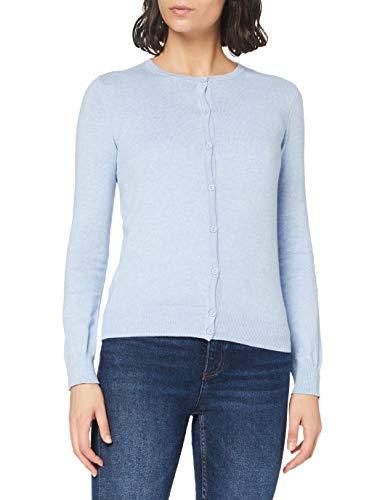Amazon-Marke: MERAKI Baumwoll-Strickjacke Damen mit Rundhals, Blau (Ocean Blue), 40, Label: L