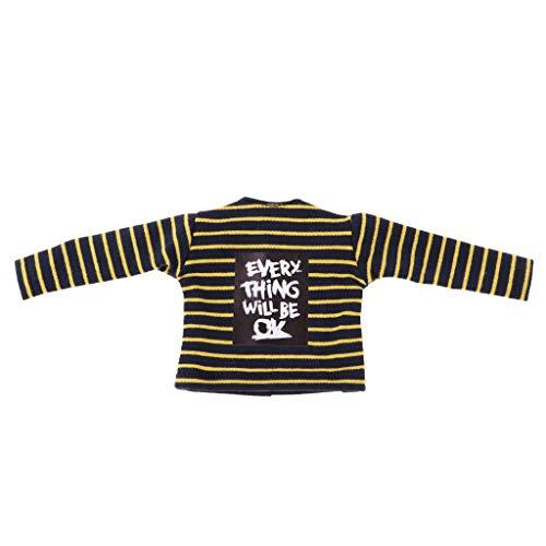 perfeclan Puppenkleidung Gestreiftes T-Shirt Oberteile Tops Bekleidung für 12 Zoll Blythe Puppe - Gelb + Schwarz