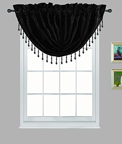 2pc Beaded Curtain Valances for Living Room Bedroom Kitchen Jacquard Crystal Swag Waterfall Valence Rod Pocket Top Tassel Curtains Valence Curtains for Windows Tassel Curtains( 2PC BT180-BLACK)