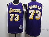 Ropa Jerseys de baloncesto de los hombres, Nba Los Angeles Lakers # 73 Dennis Rodman, camiseta clásica de ropa sin mangas deportiva, tops de uniformes de tela confort, púrpura, xxl (185 ~ 195 cm)