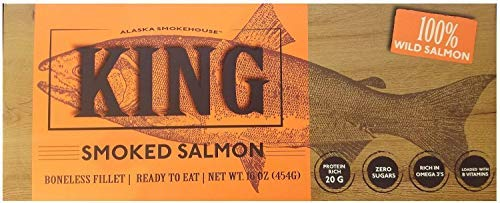 Alaska Smokehouse Smoked King Wild Salmon Fillet, 16 oz, Alaska Smokehouse
