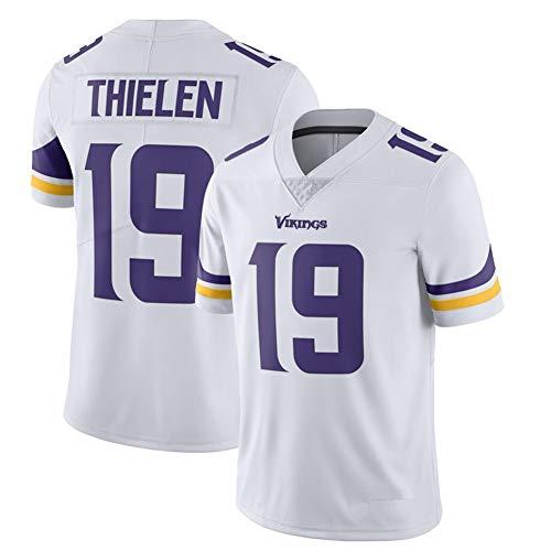 POAA Herren Rugby Trikot Adam Thielen 19 # Minnesota Vikings Wettkampf-Trainings-Shirts Kleidung Fußball Sportswear Jersey Tops T-Shirts Herren Geschenke Gr. M, weiß