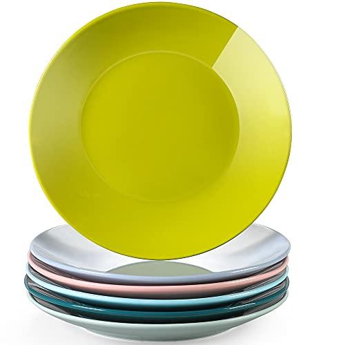 LOVECASA serie Sweet Juego de 6 Platos Cocina Vajilla de Porcelana Platos Llanos de 26.5cm Plato de Cena Colores