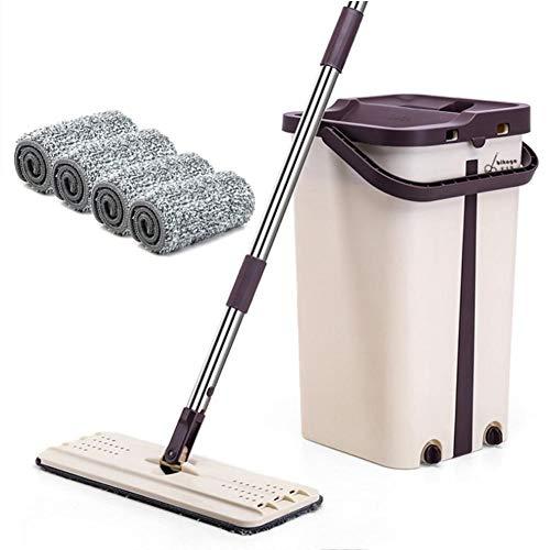 Wischmopp Easy Clean Set - (1 Fass +1 Mopp +4 Stück Stoff) Wisch- Und Eimer Set - Fußbodenwischer Mop Parkett Wischer Schrubber,Teleskoplänge der Wischerstange: 60-124CM