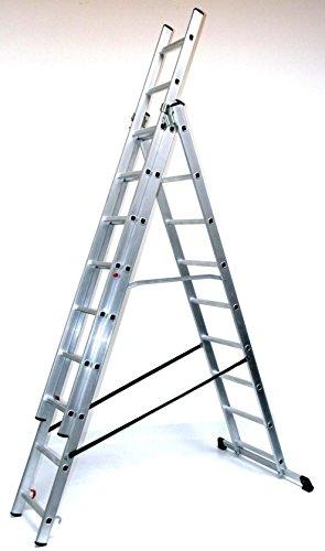 Alu-Schiebeleiter 3x12 Stufen/Sprossen, Arbeitshöhe: 7,8m, 332x48x17, Aluminium, Marke: Szagato (Mehrzweckleiter/Stehleiter, Anlegeleiter, Aluleiter, Kombileiter, Leiter)