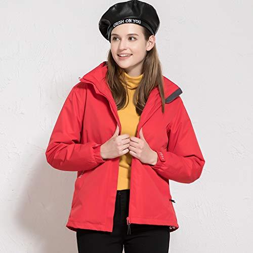 NYKK Womens 3 in 1 Jackets Fleece Ski Jacket Winter Waterproof Full Zip Windproof Coat Outdoor Camping Hiking Mountain Jacket Coat with Hood (Color : Red, Size : XL)