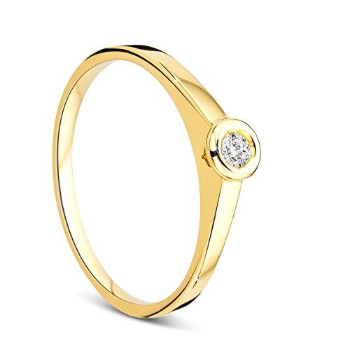 Orovi Damen Verlobungsring Gold Solitärring Diamantring 14 Karat (585) Brillanten 0.05crt GelbGold Ring mit Diamanten Ring Handgemacht in Italien