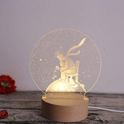 Lampada da tavolo creativa regalo di compleanno Nordic 3D piccolo principe rosa notte luce regalo amante di Natale