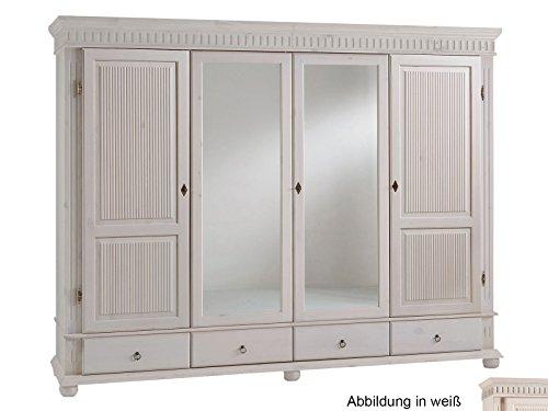 möbelando Kleiderschrank Massivholzschrank Schrank Schlafzimmerschrank Silvana VIII 218 cm weiß
