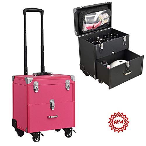 ZBSSH 2-laags cosmetische koffer reismake-up koffer schoonheidskoffer toilettas professionele make-up trein koffer grote make-up zakken voor vrouwen mannen, H