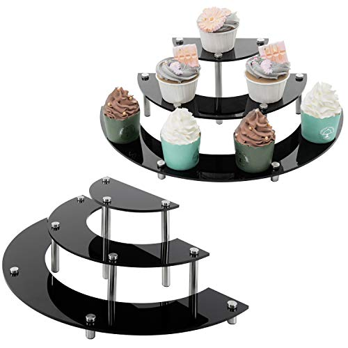 MyGift 6Piece Set Black Acrylic Semicircle Server Cupcake Dessert Display Stand Tabletop Collectible Showcase Risers