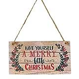 YeahiBaby Adornos de Navidad en Madera para Puerta Decoracion Navidad Placa Decorativa Vintage Retro con Letrero de Merry Christmas