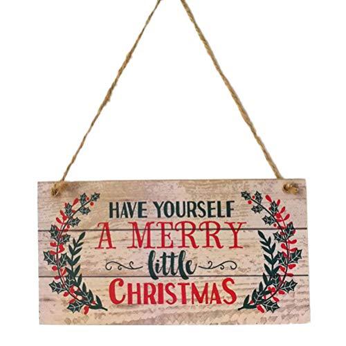 YeahiBaby Adornos de Navidad en Madera para Puerta Decoracion Navidad Placa Decorativa Vintage Retro con Letrero de Merry Christmas ✅