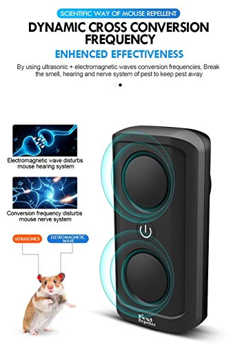 FLLOVE Ultrasonidos Repelente de plagas Plug In electrónica Repelente de Insectos Araña Rata Ratón Roedor Repelente ultrasónico Dropship 2019 (Color : Black, Plug Type : UK)
