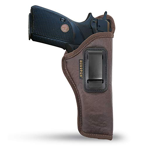 "Brown IWB 1911 Gun Holster by Houston - ECO Leather Concealed Carry Soft Material | Suede Interior for Maximum Protection | FITS 1911 5"" Barrel Length, Browning 9 mm, Colt, Kmber, Taurus (Right)"