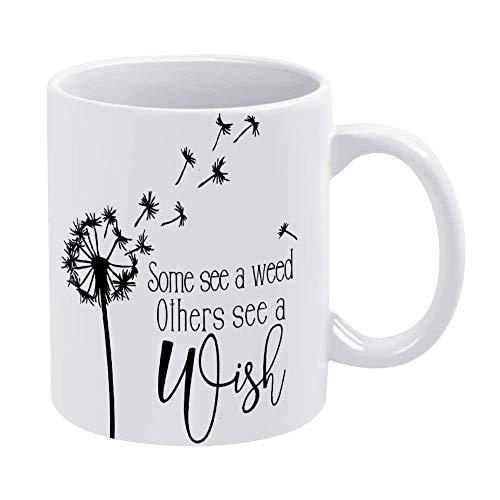N\A Wish White Kaffeebecher Keramik Lustige Becher Löwenzahn Neuheit Becher Teetasse Weihnachten Geburtstag Einweihungsgeschenk für Männer Frauen, Einzigartige Geschenkidee