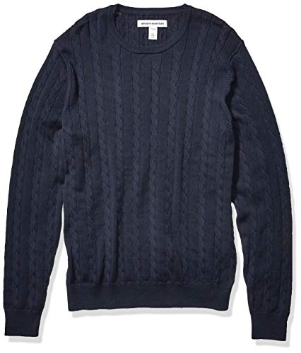 Amazon Essentials Men's Crewneck Cable Cotton Sweater, Navy, X-Large