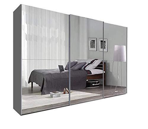 2 y 3 MirrorTexas - Armario con espejo completo en 2 colores diferentes y 5 tamaños (250 cm, gris)
