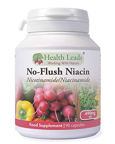 No-Flush Niacin 490mg x 90 Capsules, Nicotinamide/Niacinamide - Flush Free Form of Vitamin B3/Niacin,Magnesium Stearate Free & No Nasty Additives, Vegan, Made in Wales