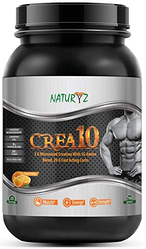 Naturyz Crea10 Creatine Supplement with Micronized Creatine Monohydrate and HCL, 5g Amino Blend, 20g Fast Acting Carbs- Tangy Orange Flavor for Muscle Building - 750 Grams (1)