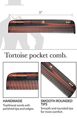 GBS 4 Pack Handmade Hair Styling Beard Comb Set for Men and Women DCT Dressing Comb, All Purpose FCT Folding Comb, PCT Pocket Comb, MCT Mustache Comb - Family Pack for Long Short Wavy Thick and Thin