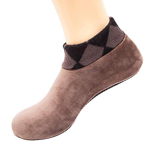 COZOCO Frauen Winter warm Strumpf Home Bed Socken rutschfest elastische Boden Socken Slipper Socken Leopard Print kurze Socken(khaki)