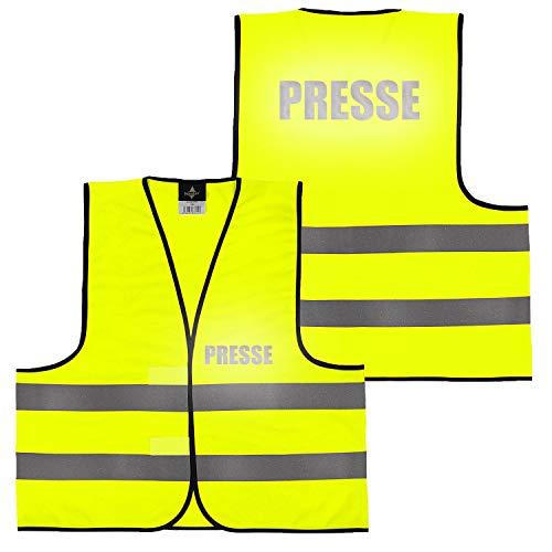 Warnweste Gelb Orange, beidseitig bedruckt auf Brust und Rücken Reflex mit Ordner, Security große Auswahl Motive Aufdrucke 023 Presse (Gelb) M