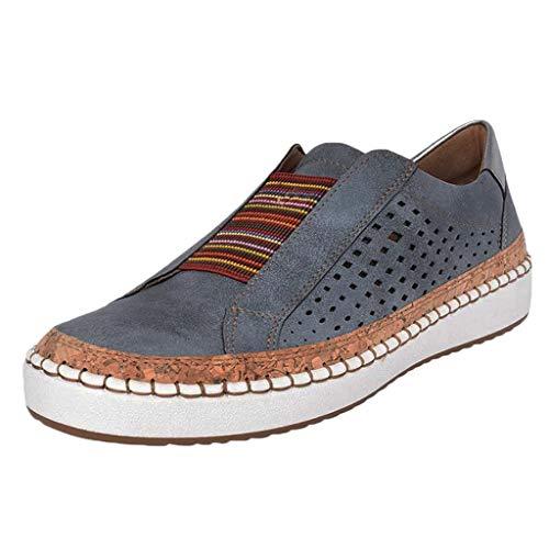 Turnschuhe Frauen Mode Casual Hollow-Out Runde Zehen Slip On Schuhe flach (41,Blau)