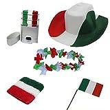 Sonia Originelli Fan-Paket EM Italien Italy Fußball Hut Kette Schminke Schweißband Flagge