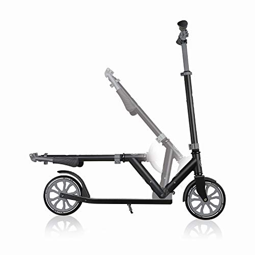 Globber NL 500-205 2-Big Wheel Quick Folding Kick Scooter - Reflective and Adjustable Height T-Bar - Comfort Handlebar Grips - for Kids 8+, Teens, and Adults - Black & Grey