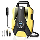 Sunvook Portable Air Compressor Tire Inflator 12V DC Auto Air Pump 150PSI with Emergency LED Light Air Tire Pump for Car, Bike Tires Motorcycle, balls and Other Inflatables(Yellow)