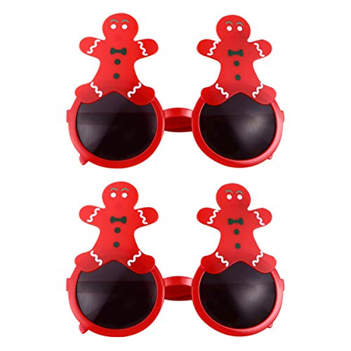 Amosfun 2pcs Christmas Party Glasses Lovely Red Gingerbread Man Eyeglass Funny Eyewear Frames Photo Props For Kids Xmas Costume Cosplay Party Supplies