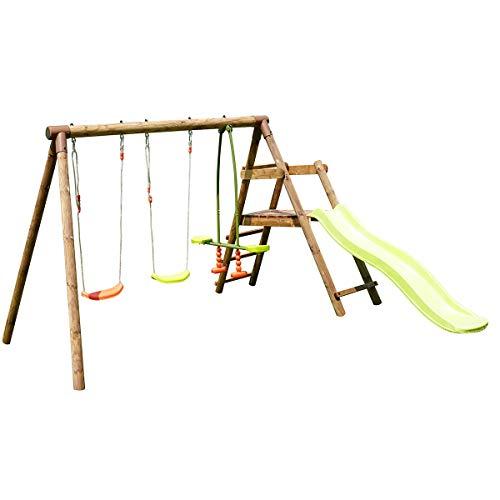Soulet - Estación de madera tratada para niños, 3 agres y tobogán