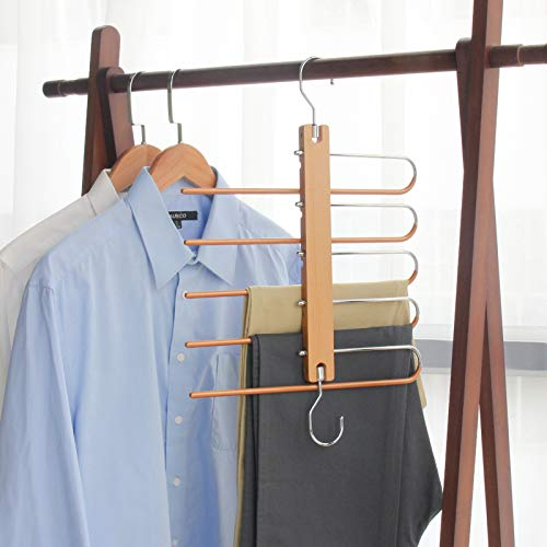 Magic Pants Hangers, Space Saving Closet Hangers 5 Layers 2 Uses Multi Functional Pants Rack | Solid Metal & Wood Heavy Duty Wardrobe Organizer Racks for Clothes Trousers Scarves Ties(One Pack)