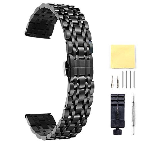 BINLUN Herren Edelstahl Uhrenarmbänder Schwarz 20mm BL0001B-BB20