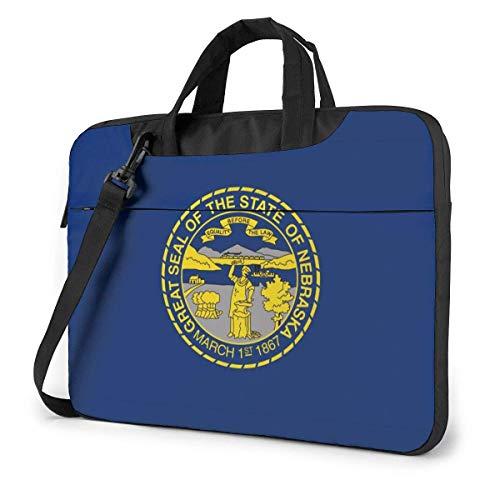 Nebraska NE State Flags Laptop Shoulder Messenger Bag, Notebook Sleeve Carrying Case with Trolley Belt