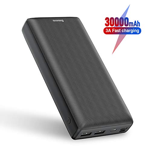 Power Bank 30000mah, Baseus 3A Fast Charging Portable Charger with 3 Speed Recharging, 3 Output Port Portable Charger for iPhone 11 Pro Max, iPad, Mac, Samsung Galaxy, USB-C Laptops and More (Black)