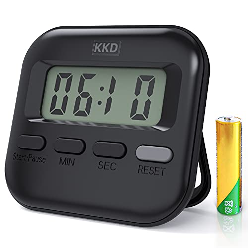 Digital Kitchen Timer, Clear Digits with Minutes and Seconds Button, Loud Alarm, Stand and Magnetic Backing, for Cooking Baking Sports Games Office, AAA Battery Included Black
