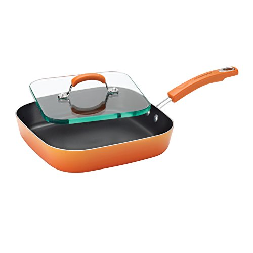 Rachael Ray 14482 Brights Nonstick Griddle/Griddle Pan/Flat Grill with Glass Press - 11 Inch, Orange Gradient