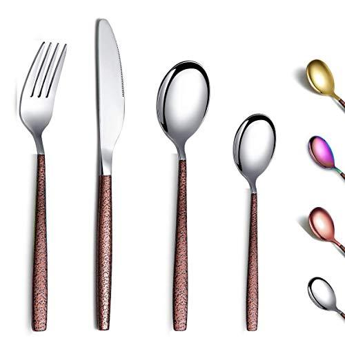 Berglander Set di posate 24 pezzi con manico in superficie lunare e placcatura in titanio con testa in oro lucido, set di posate in argento moderno in acciaio inossidabile Set di utensili per 6