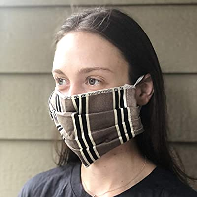 Premium Fabric Face Mask Reusable, Washable, Double Layer, Protects from Respiratory Droplets, Dust, Other Airborne Irritants, Ruffled/Pleated Design (Brown Plaid)