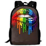 Rainbow Lips Print Mochila para Adultos Laptop