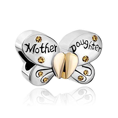 uniqueen 1par mariposa madre hija Colgante Corazón de Cristal Amor Charms Beads Venta Fit Pandora Chamilia pulseras